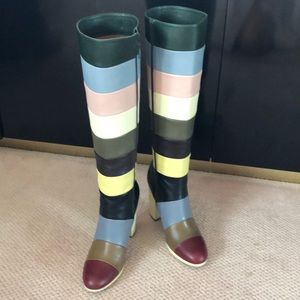 Valentino Multicolored Striped Leather Knee Boots.